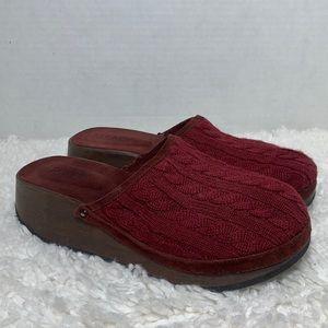 Vintage J Crew knit maroon wood clog mules size 9